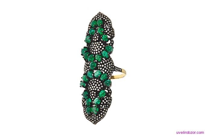 Кольцо J/Hadley с изумрудами и алмазами, золото 14 карат (цена $ 3150)