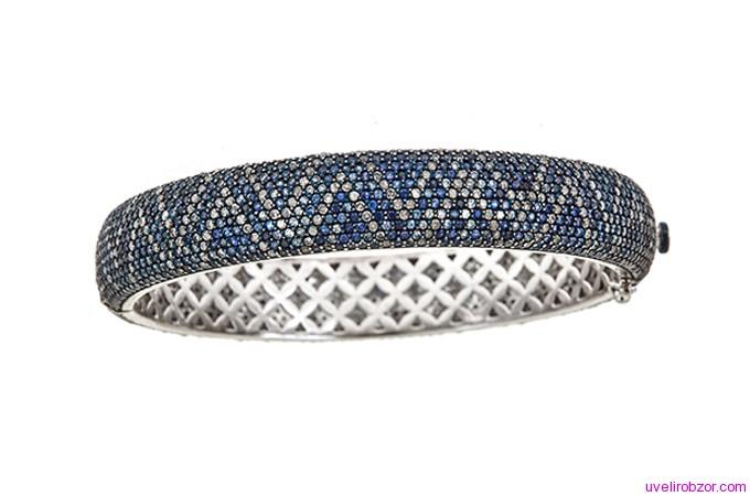 Браслет J/Hadley синий сапфир, алмаз, и золото 14 карат (цена $ 8475