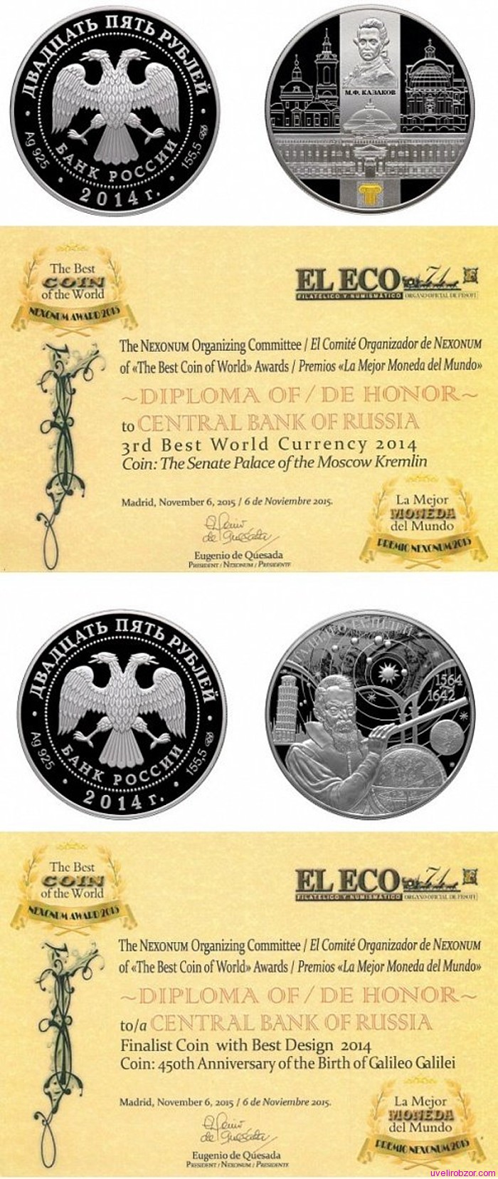 Российские монеты признали лучшими